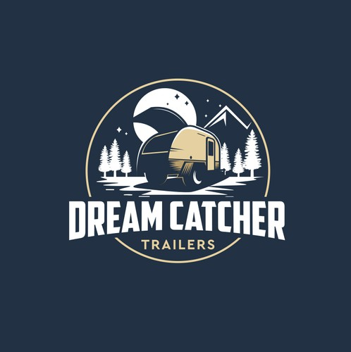 Trailer logo with the title 'Dream Catcher Trailers-Logo for camping trailer hand crafted'