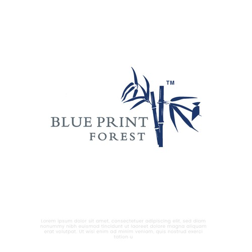Bamboo leaf logo with the title 'Logo for blueprint forest'