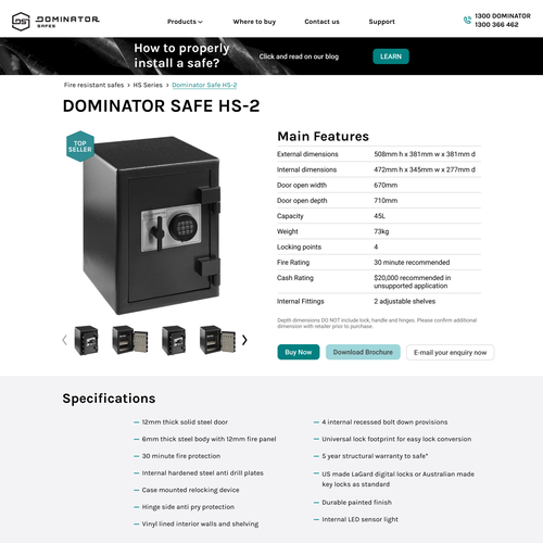 Product page design with the title 'Product card for safe store'