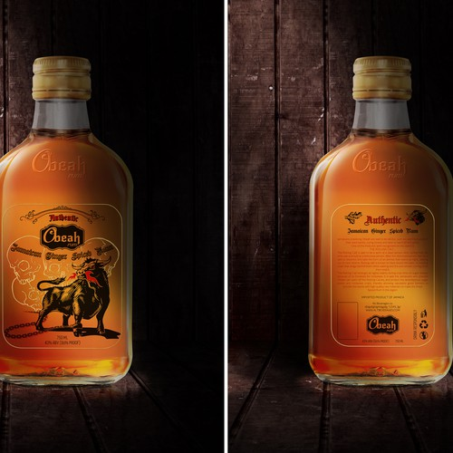Logo packaging with the title 'ALCOHOL! Help a start-up create an amazing, cool, unique NEW TO WORLD Spiced Rum'