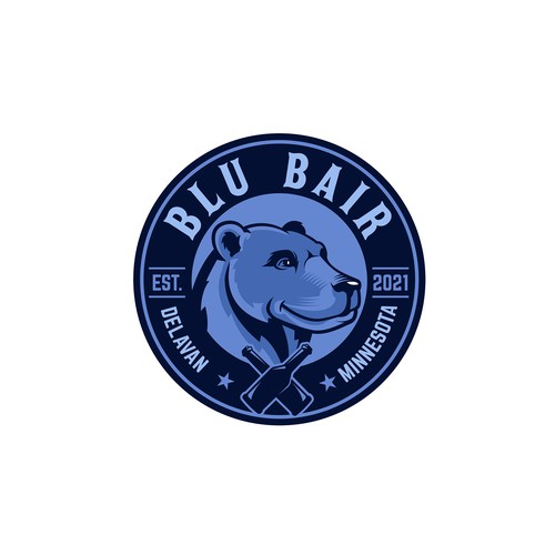Bear mascot logo with the title 'Blu Bair'