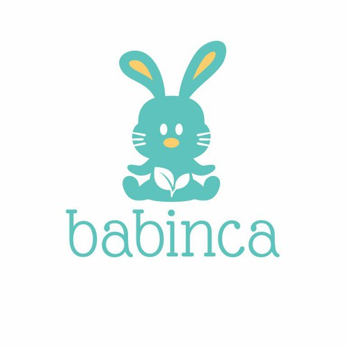 Bunny design with the title 'Create a beautiful logo for BABINCA baby goods'