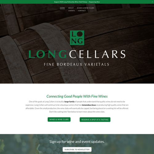 Ecommerce design with the title 'Long Cellars'