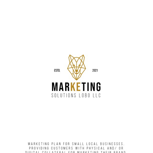 Wolf logo with the title 'Marketing solutions logo'