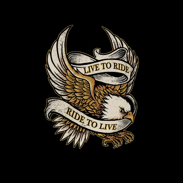 Harley Davidson design with the title 'Bald Eagle for motorcycle T-shirt'