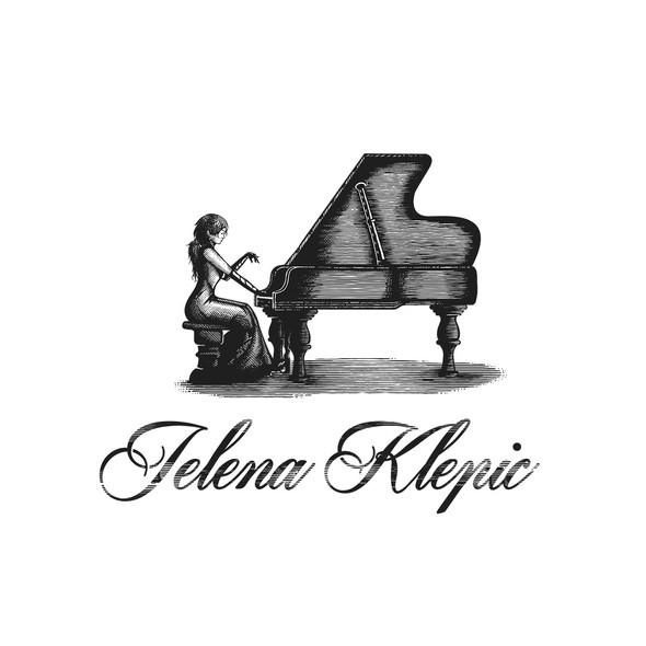 Classical music logo with the title 'Piano teacher'