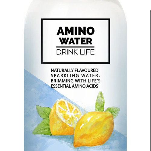 Lemon packaging with the title 'Label design for Water Product'