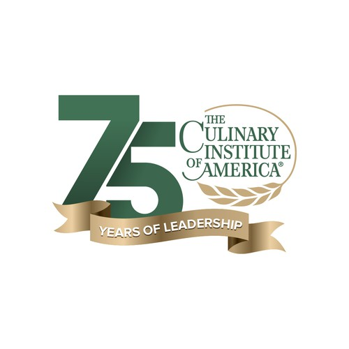 Culinary logo with the title '75 Years  of Leadership - The Culinary Institute of America'