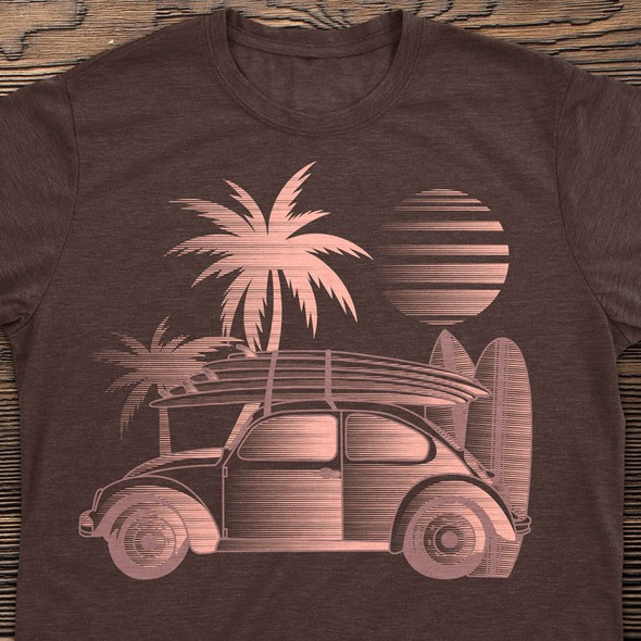 Beach t-shirt with the title 'T-Shirt Illustration'