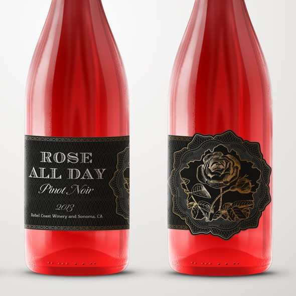 Pinot noir label with the title 'Wine label for a Sonoma Rose'