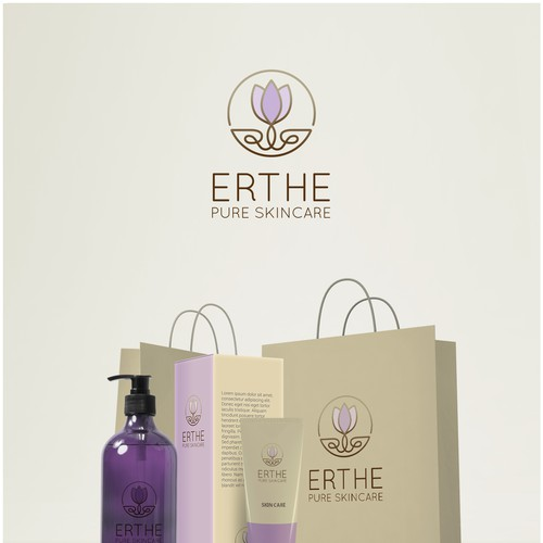 Healthy lifestyle logo with the title 'ERTHE - Botanical  Skincare'