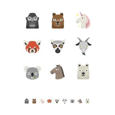 Animal emojis for mobile app
