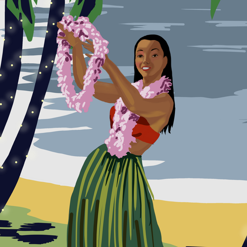 Hawaiian design with the title 'Luau Poster'