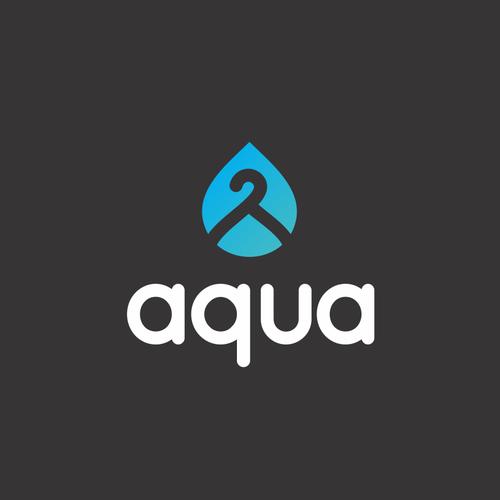 Green logo with the title 'aqua logo design'