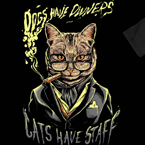 Cat t-shirt with the title 'cats have staff'