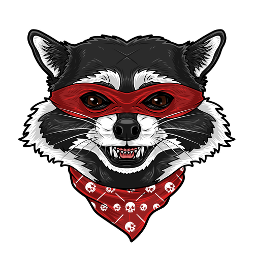 Raccoon design with the title 'Mischievous/Rogue Apparel Designs'