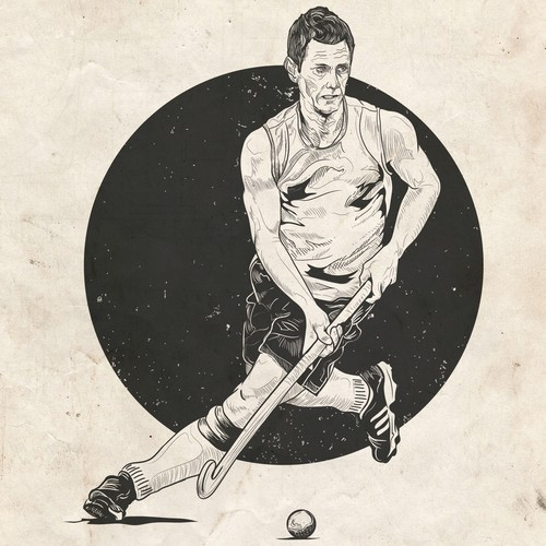 Rustic t-shirt with the title 'Vintage illustration for hockey player'