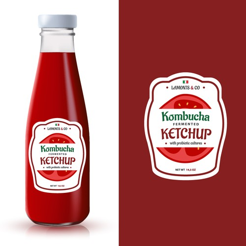 Kombucha label with the title 'Design label for ketchup product.'