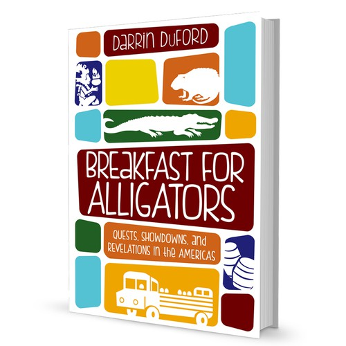 Alligator design with the title 'Book cover for a Compilation of Insightful Travel Narratives'