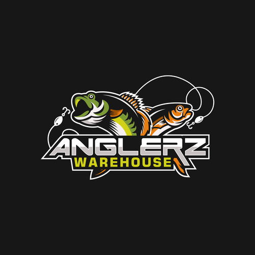 Fish logo with the title 'Anglerz Warehouse'