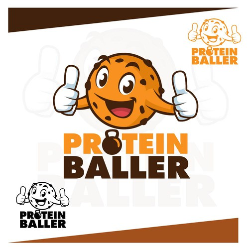 Fun brand with the title 'Playful Character and Logo Design for Protein Baller'