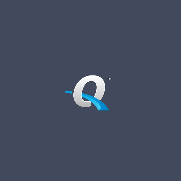 Swoosh logo with the title 'Q logotype for asset management company'