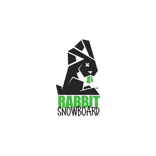 Streetwear design with the title 'Rabbit Snowboard Logo Design. Snowboard clothing'
