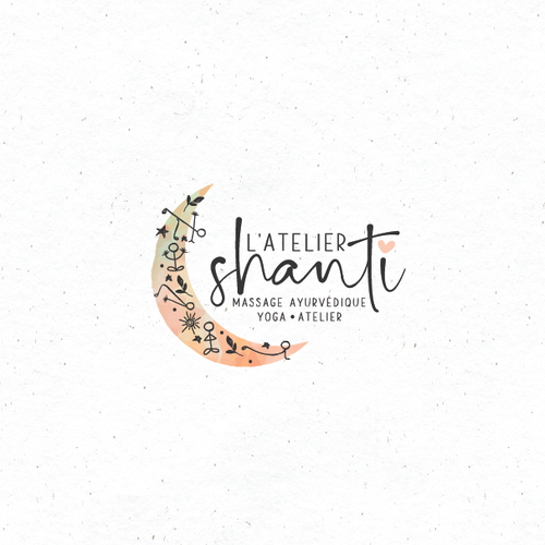 Moonlight logo with the title 'Hand drawn logo for yoga and massage.'