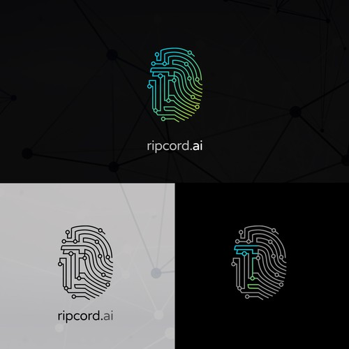 Fingerprint logo with the title 'Design for an AI company'
