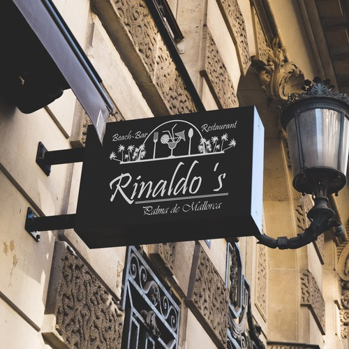 Beach bar design with the title 'Rinaldo's Beach-Bar & Restaurant at Palma de Mallorca street sign'