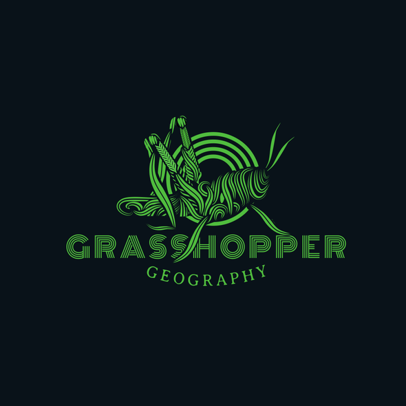 Grasshopper design with the title 'Artistic logo for geography business'