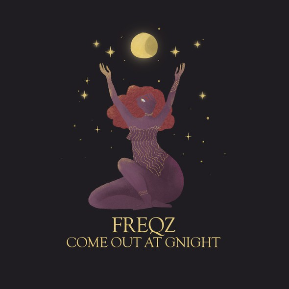"""Print artwork with the title '""""FREQZ COME OUT AT GNIGHT"""": A metaphorical think piece that expresses the imagination and feminine divinity'"""