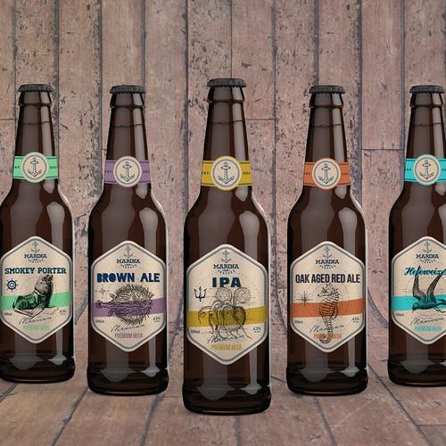 Marine design with the title 'Vintage beer label'