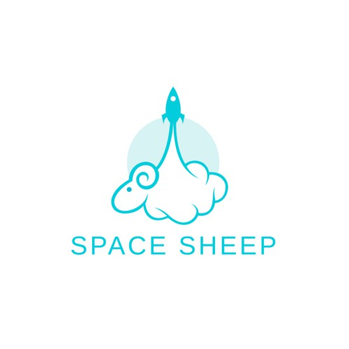 Spaceship logo with the title 'Space sheep looking to be visualized'