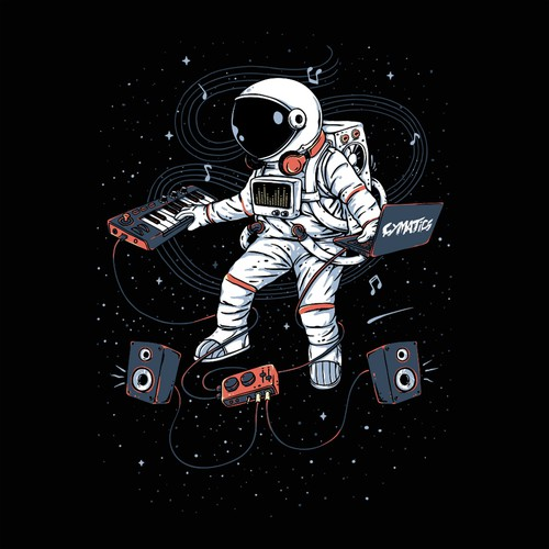 Astronaut t-shirt with the title 'Space Music Maker'
