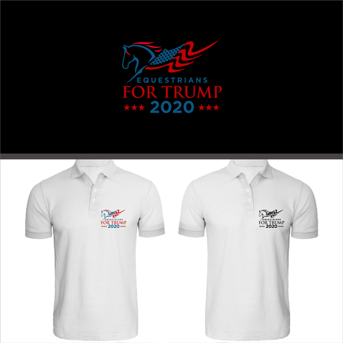 Horse t-shirt with the title 'equestrians for trump 2020'