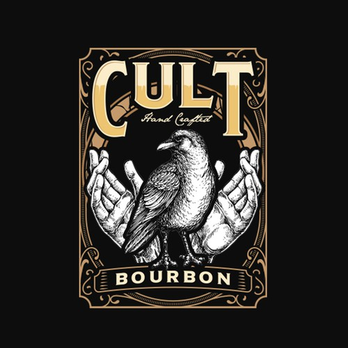 Hand design with the title 'Cult Bourbon'