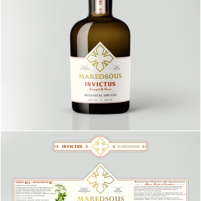 Botanical labels for Maredsous GIN, based on medical plants. 100% organic
