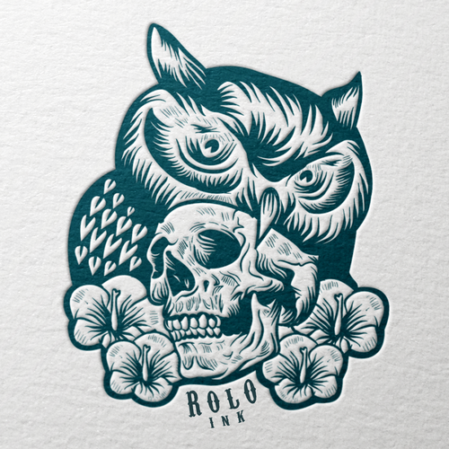Owl t-shirt with the title 'ROLO INK'