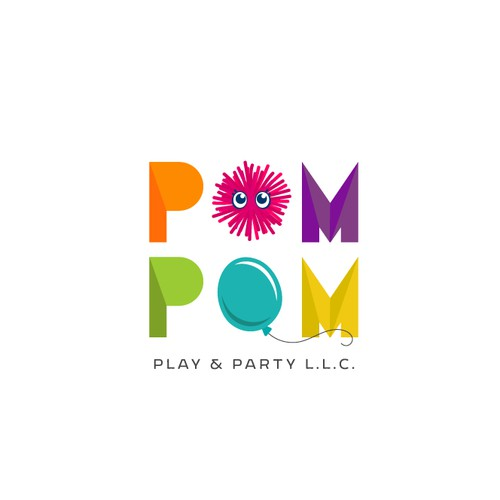 Filigree logo with the title 'Logo and Brand Guide for Pom Pom Play & Party'