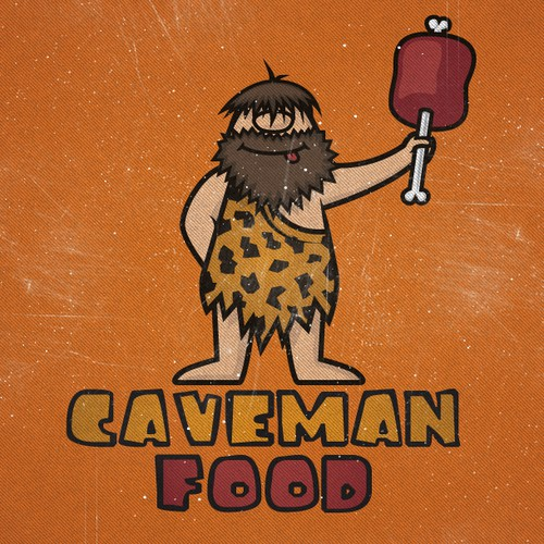 "Caveman logo with the title 'Logo for ""Caveman Food"" - natural foods company'"