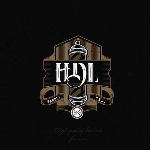 "Barbershop logo with the title 'Vintage logo design concept for ""HDL"" barber shop...'"