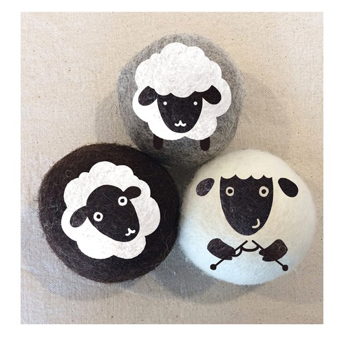 Organic artwork with the title 'Wool Dryer Ball Set Designs'