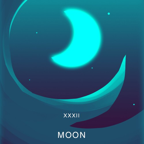 Tarot design with the title 'Lenormand Tarot Card - The Moon'