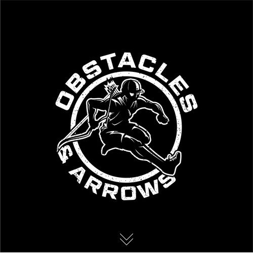 Archery logo with the title 'Winner Obstacles And Arrows Logo Design'