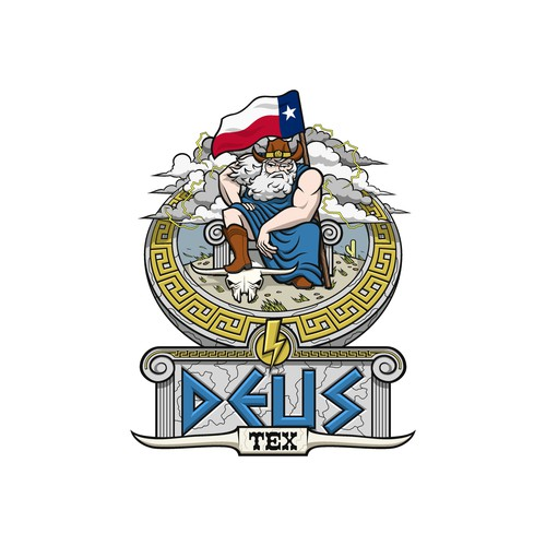 Storm design with the title 'Zeus Living in Texas Cartoon'