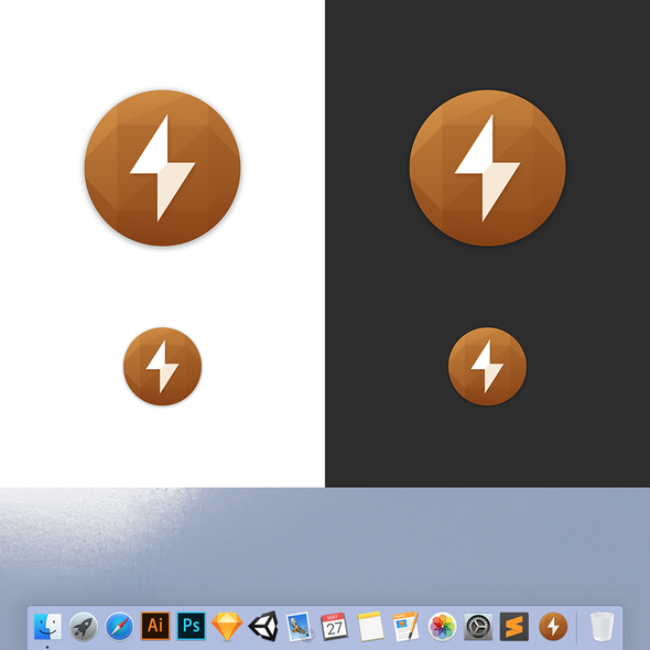 White and brown design with the title 'Coconut Battery MacOS App Icon'
