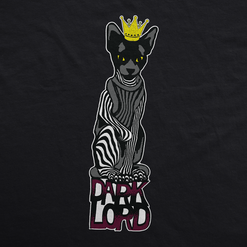 Dark t-shirt with the title 'Cat illustration'