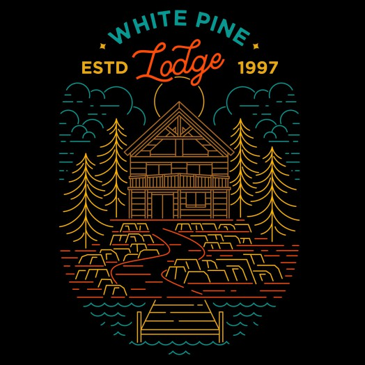 Badge t-shirt with the title 'WHITE PINE LODGE'