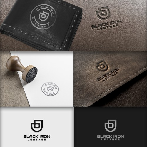 Wallet logo with the title 'Black Iron Leather'